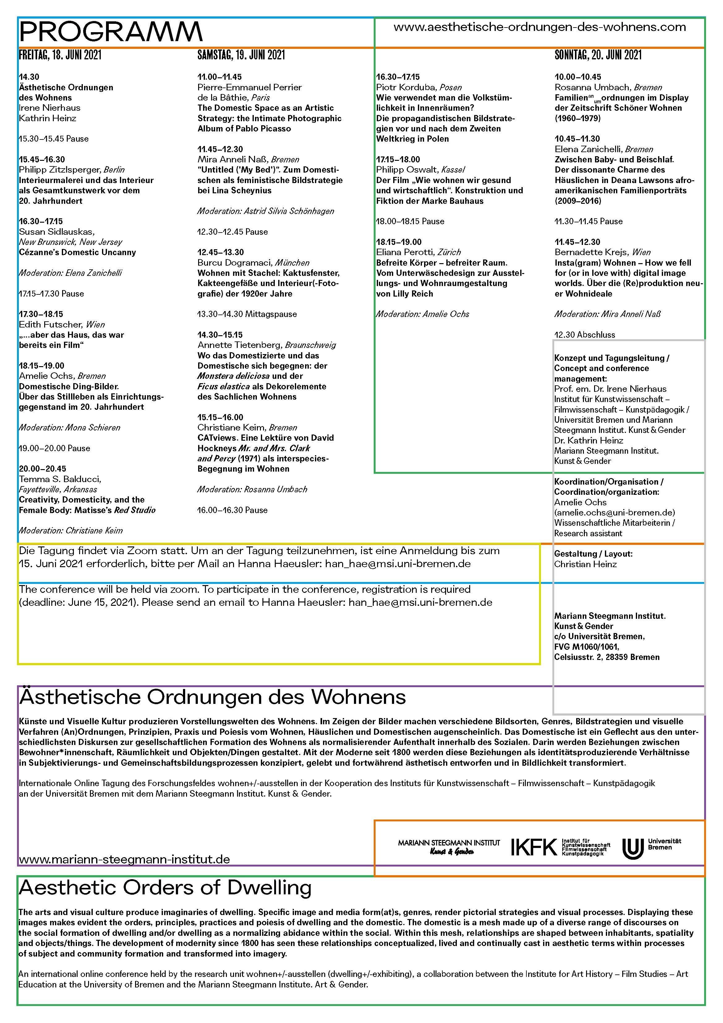 Aesthetische Ordnungen des Wohnens 18 bis 20 Juni 2021 Flyer Page 2